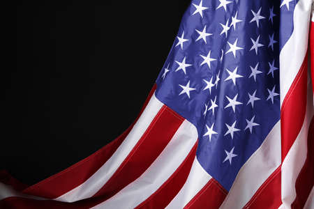 National flag of America on black background, space for text. Memorial day celebration