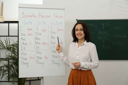 English teacher giving lesson on simple present tense near whiteboard in classroom