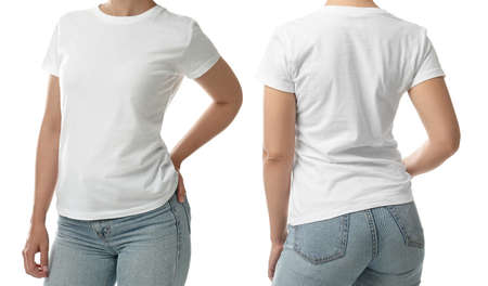 Closeup view of woman in t-shirt on white background, collage. Space for design Stock fotó