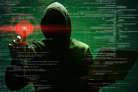 Man with laptop and digital code on dark background. Cyber attack concept