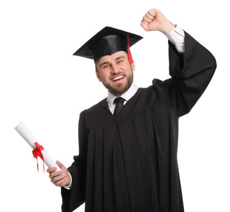 Emotional student with graduation hat and diploma on white background