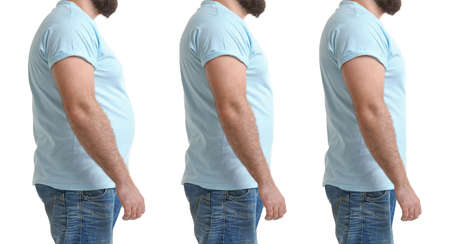 Man before and after weight loss on white background, collage