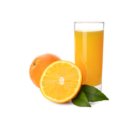 Orange juice, fresh fruits and green leaves on white background