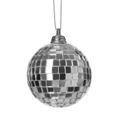 Bright shiny disco ball isolated on white