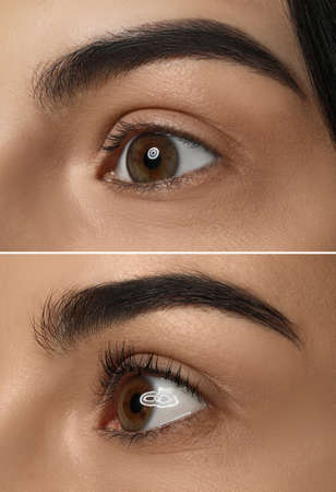 Collage with photos of woman before and after eyelash lamination procedure, closeup