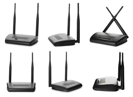 Set with modern Wi-Fi routers on white background