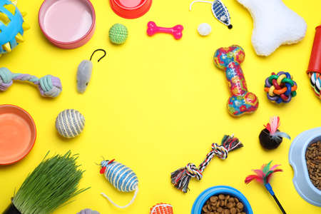 Different pet toys and feeding bowls on yellow background, flat lay. Space for text 免版税图像