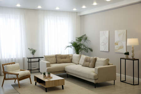 Big comfortable sofa in living room. Interior design Banque d'images