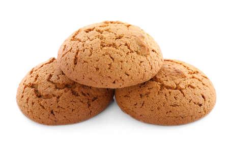 Fresh delicious oatmeal cookies on white background Stock Photo