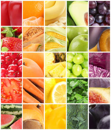 Different fresh fruits, vegetables and berries, collage