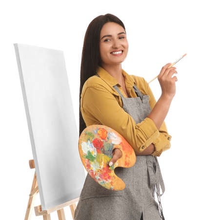 Young woman with drawing tools near easel on white background Archivio Fotografico