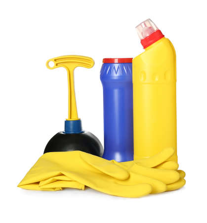 Toilet cleaner bottles, plunger and gloves isolated on white