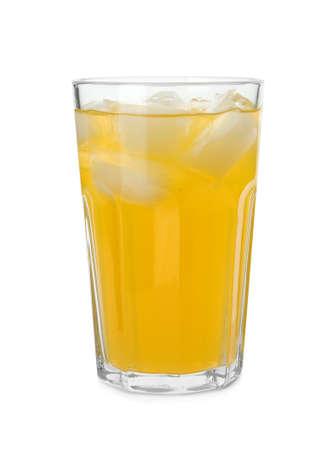 Delicious orange soda water on white background
