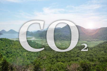 Concept of clear air. CO2 inscription and beautiful mountain landscape Archivio Fotografico
