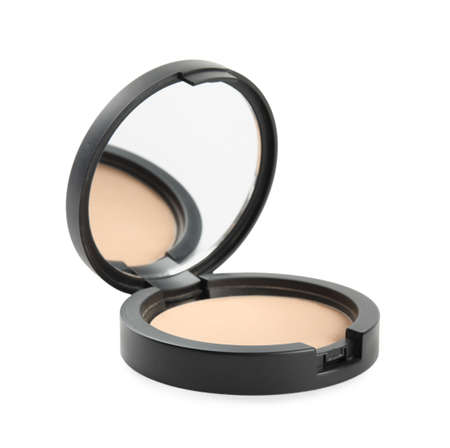 Black pocket powder with mirror isolated on white. Cosmetic product