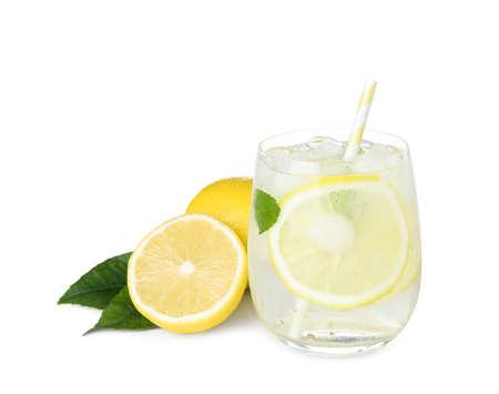 Cool freshly made lemonade and fruits on white background