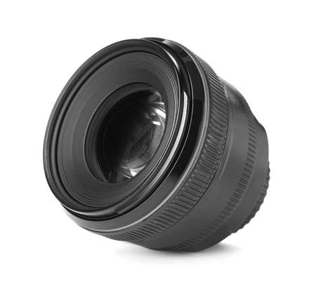 Camera's lens isolated on white. Photography equipment