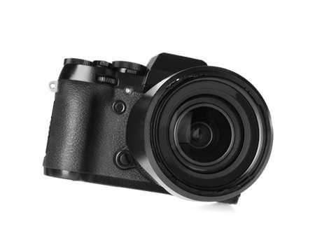 Modern digital camera isolated on white. Photography equipment Stockfoto