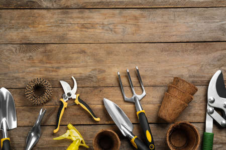 Flat lay composition with gardening tools on wooden background, space for text Standard-Bild