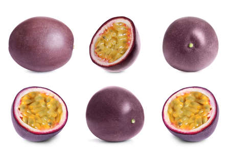 Set with delicious passion fruits on white background