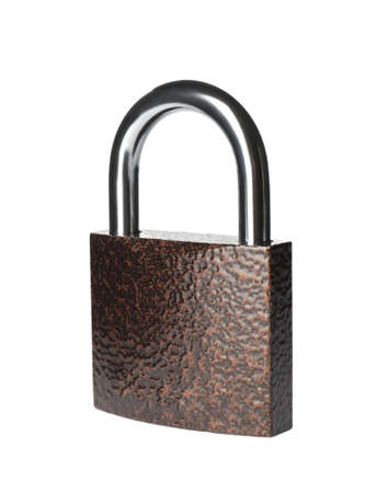 Modern padlock isolated on white. Safety and protection