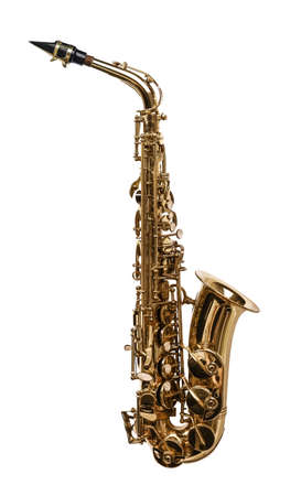 Beautiful saxophone isolated on white. Musical instrument 版權商用圖片