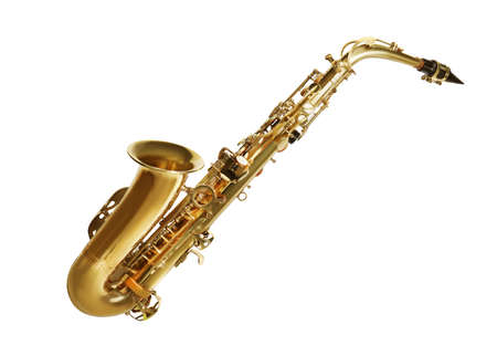 Beautiful saxophone isolated on white. Musical instrument
