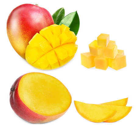 Set with delicious ripe mangos on white background
