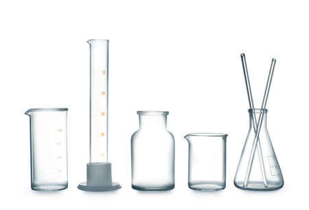 Empty clean laboratory glassware on white background Stock Photo