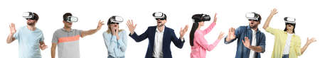 People using virtual reality headset on white background, collage. Banner design