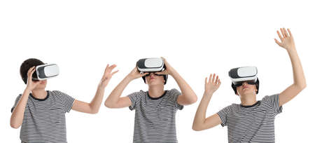 Teenage boy using virtual reality headset on white background, collage. Banner design