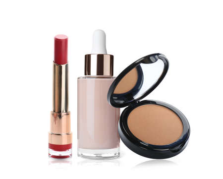 Set with different decorative cosmetics on white background