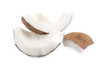 Pieces of ripe coconut on white background Stockfoto