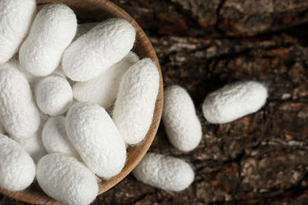 White silk cocoons with wooden bowl on tree bark, flat lay