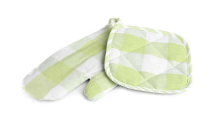 Oven glove and potholder for hot dishes on white background 版權商用圖片