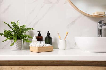 Beautiful green fern and toiletries on countertop in bathroom