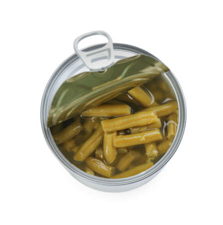 Conserved green beans in can isolated on white, top view