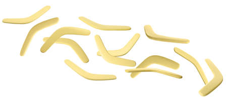 Many yellow boomerangs flying on white background. Banner design