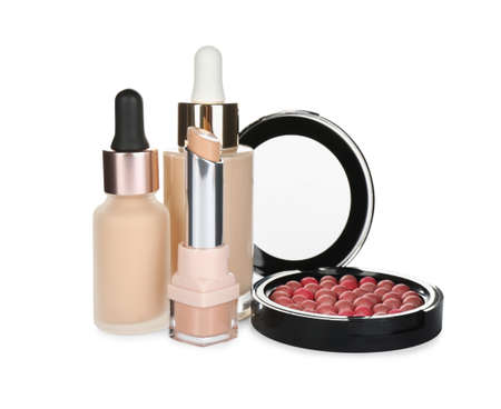 Foundation makeup products on white background. Decorative cosmetics