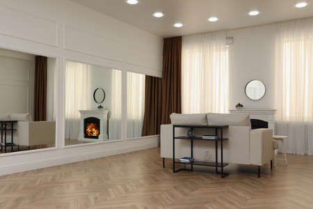 Modern living room with parquet flooring and fireplace
