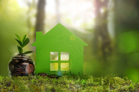 Eco friendly home. House model and jar with coins on green grass outdoors