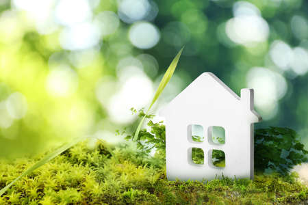 Eco friendly home. House model on green grass outdoors, space for text Stockfoto