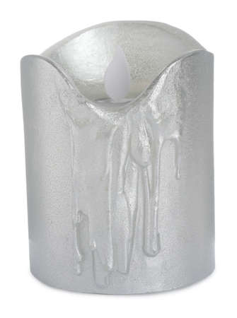 Decorative flameless LED candle isolated on white Stockfoto