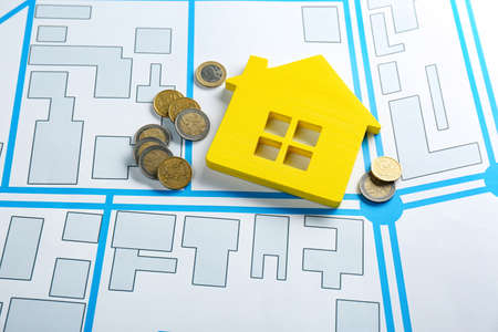 Coins and yellow house model on cadastral map