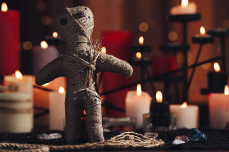 Voodoo doll with pins and dried flowers on table in room, space for text. Curse ceremony Zdjęcie Seryjne