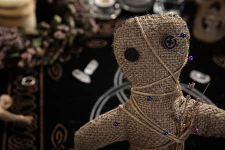 Voodoo doll with pins and dried flowers indoors, closeup. Space for text
