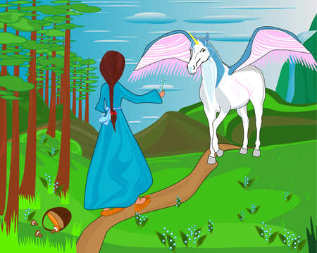 Little girl meets the unicorn Illustration