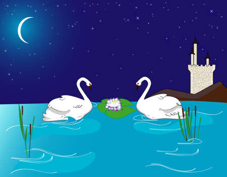 Swans at the lake after midnight Illustration