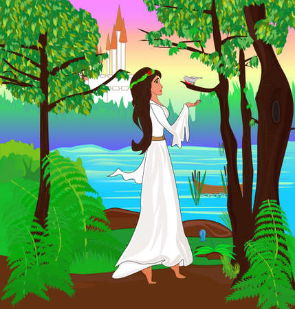 Young princess listens to the bird in the forest Vector