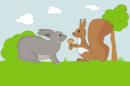 Squirrel and Rabbit at the meadow Stock Vector - 16864415